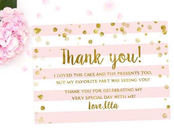 1st birthday thank you card, Girl Birthday Thank You Card, Pink And Gold Glitter Girl Birthday, Pink and gold birthday, Girl birthday party