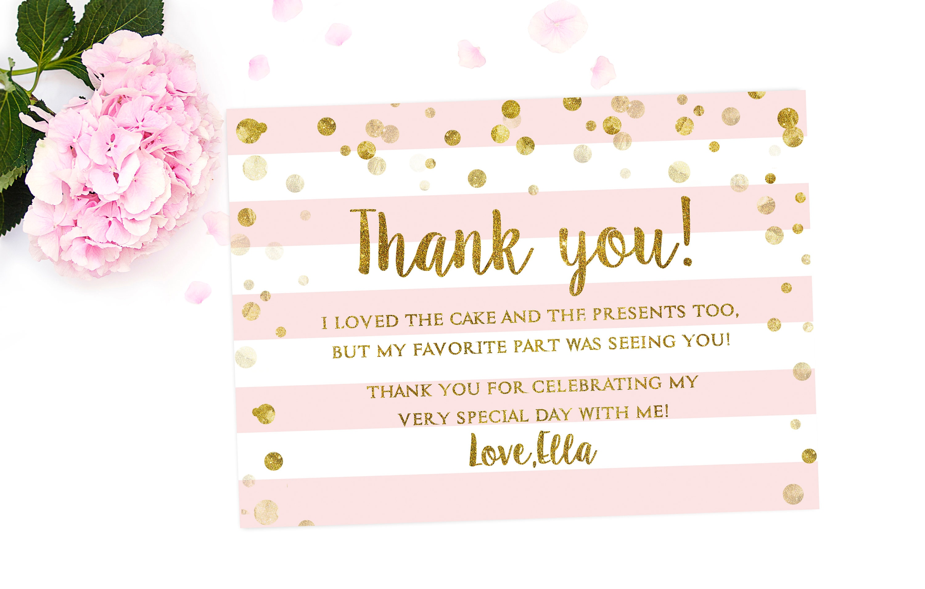 1st birthday thank you card girl birthday thank you card request a custom order and have something made just for you izmirmasajfo Images