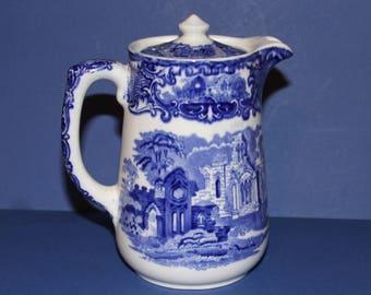 Vintage c. 1910 Flow Blue George Jones and Sons Coffee/Milk Jug with lid