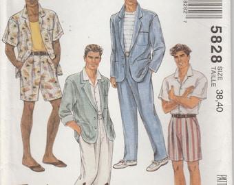 Jacket Pattern Loose Fitting Shirt Pants Shorts Mens Size Chest 38 - 40  McCalls 5828