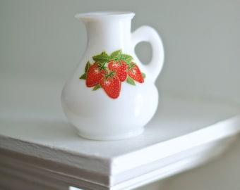 Vintage Strawberry Stem Glass   Avon Milk Glass Strawberries and Cream Bath Foam