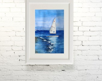 "Printable wall art  Watercolor poster ""On the waves"" Home decor"