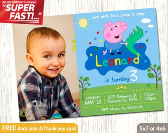 GEORGE PIG PHOTO Invitation, George Pig Birthday Invitation, Peppa Pig Invitation Boy, Peppa Pig Invitation, George Pig Invitation, v4