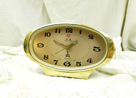 Large Working Vintage Mid Century 1960 Mechanical Wind Up Oval Alarm Clock, Retro 60s Bedside Timepiece, 1970s Home Interior Decor