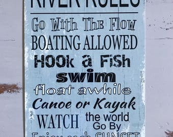 River Rules - Blue Sign - Metal Sign - Beach decor - Home Decor - Boating Sign - also makes a gift.