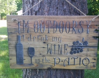 Wooden wine sign