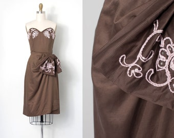 vintage 1950s dress | 50s strapless brown cocktail dress (extra small xs)