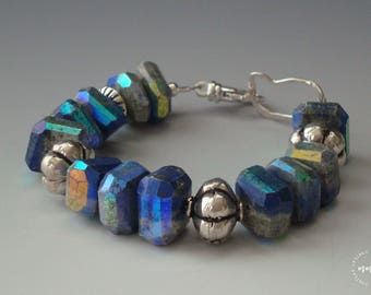 Lapis Lazuli Nuggets and Sterling Silver, Chunky, Beaded Bracelet