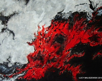 Fine Art- Oil Painting-Abstract-Expressionist- Iceland-Volcano-GIFT IDEA-Painting-Summer Trends