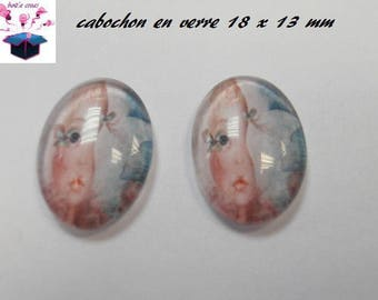 2 glass cabochons 18mm x 13mm theme kids