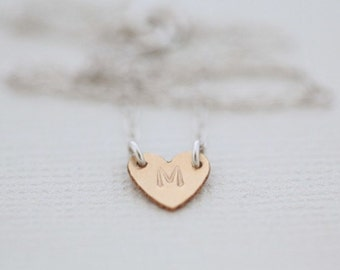 initial necklace, heart necklace, monogram necklace, custom necklace, dainty necklace - gold filled heart sterling silver chain