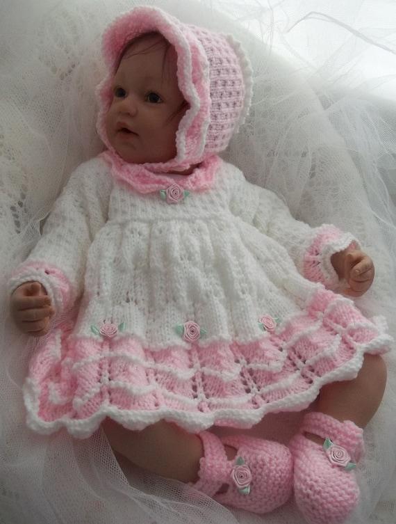 Baby Knitting Pattern Girls Or Reborn Dolls Scalloped Dress