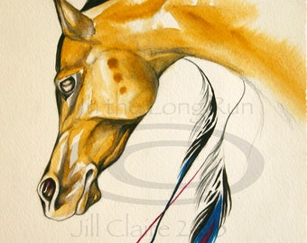Buckskin Feathered Native Horse Watercolor Art Painting Original