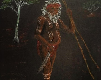 Print of aborigini with sprears (oil pastel drawing)