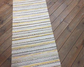 White, lihgt grey yellow and green color Scandinavian traditional narrow cotton rug runner handmade on loom. Pastel floor runner.
