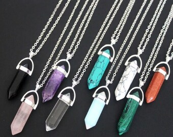 Chakra stone bullet necklace (pick your stone)