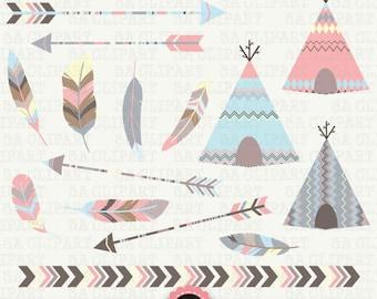 "Tribal Clipart ""TRIBAL TEEPEE TENTS ""clip art pack arrows, borders,Tribal Feathers,Aztec arrow arrow,teepee clip art,Instant Download Trb001"