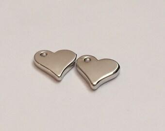 2 pc silver heart charm, heart pendant, jewelry supplies B37-S2