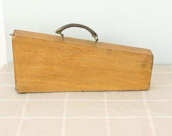 Vintage instrument case Wooden box with leather handle Wood tool box Musical instrument briefcase storage Gift for musician artist