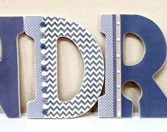 Custom Boy Nursery Letters, Wooden Letters, Wall Hanging Letters, chevron , Personalized Name-  The Rugged Pearl