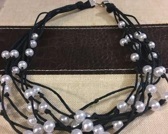 Hemp Necklace, Beaded Necklace, Multistrand Necklace