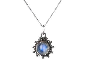 Moonstone Gemstone Pendant Dainty Necklace  Handmade, Simple Jewellery Gift box, Free UK Delivery