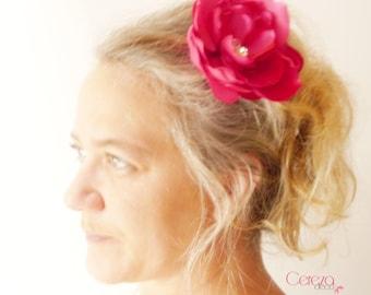 Floral chic fuchsia and Rhinestones, 'magic' hair ornament