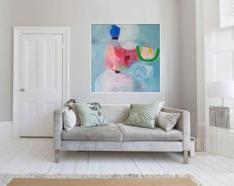 "gicleé print, blue, pink, green, large print of painting, ""Heirloom #22"""