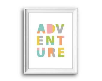 Kids Art Print Adventure, Playroom Wall Art Printable, Nursery Art Print, Printable Kids Wall Art, Nursery Print, Playroom Print, Kids Print