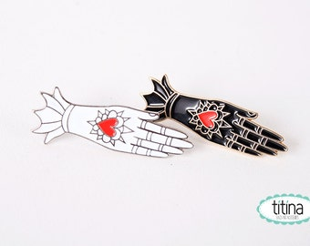 black and white milagrito hand soft enamel pins