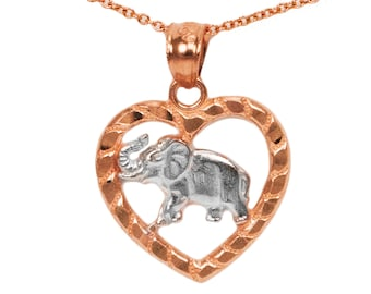 14k Rose Gold Elephant Necklace