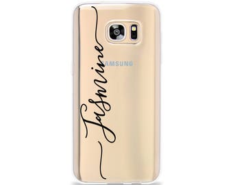 Name Phone Case for Galaxy S8 Plus, Samsung Galaxy S9 Plus, Samsung Galaxy S7 edge, Galaxy S6 edge, Custom Personalized Clear Rubber Gel