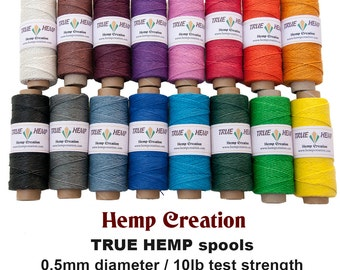 NATURAL HEMP TWINE - Package of 4 True Hemp Spools - 0.5mm 10lb -  310feet/ 95m - 50gram per spool -  Choose Your 4 Colors