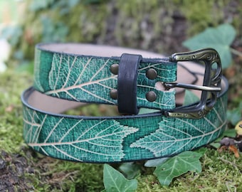Leaf emmbossed 40mm leather belt