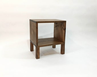 Square Nightstand, Modern Nightstands, Wood Side Table, Bedside Table, Small Wood Table, Wood End Tables, Rustic Reclaimed Wood - Walnut