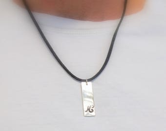Initial necklace for men, Stamped pendant necklace, Custom Silver vertical bar necklace, Mens jewelry, Vegan jewelry