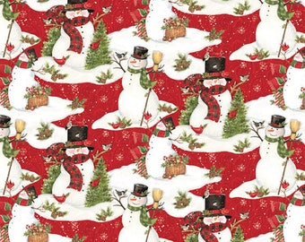 Christmas fabric, Snowman Fabric: Bundle Up Snowman Scenic Red with Cardinals and snow 100% cotton fabric by the yard (SC297)