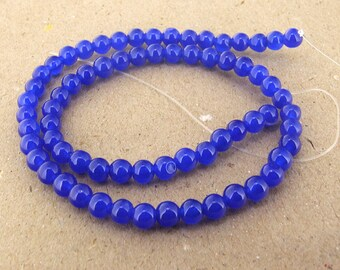 """strand Round Blue Jade Beads ----- 6mm ----- about 68Pieces ----- gemstone beads--- 15"""" in length"""