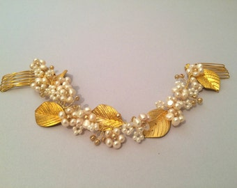 Bridal Headpiece Comb Hair Vine, Gold leaf, Freshwater Pearls