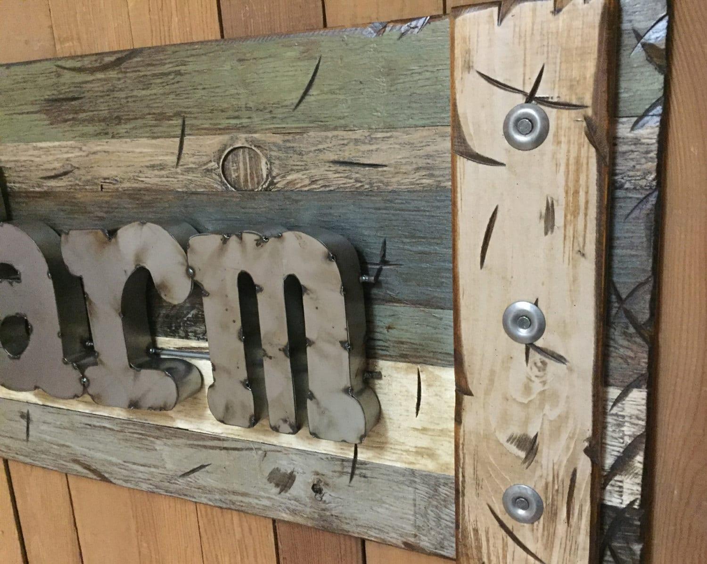 THE FARM Farmhouse Rustic Sign Reclaimed Shutter