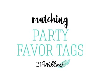 Matching Party Favor Tags, Matching Gift Tags