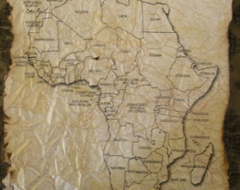 Hand Antiqued Maps of Africa - Nations Labeled - 10 Sheets
