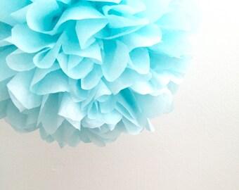 1 Light Blue Tissue Paper Pom Pom, Paper Pom Poms, Baby Boy Shower, Wedding Poms, Nursery Decor, 1st birthday party, Home Decor