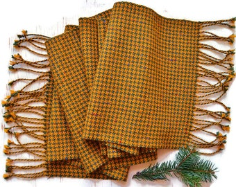 Hand-woven scarf, Plaid scarf, Scarf yellow green, Women's woven scarf, Mens wool scarf, Classic scarf, Casual scarf, Christmas gift scarf