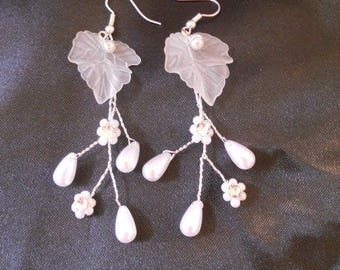 Married earrings White Pearl beads