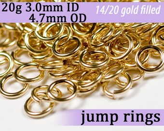 20g 3.0mm ID 4.7mm OD gold filled jump rings -- 20g3.00 goldfill jumprings 14k goldfilled