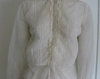 Vintage Sheer Lace  Embroidered Peplum  Blouse  1940's/1950's Sz Medium