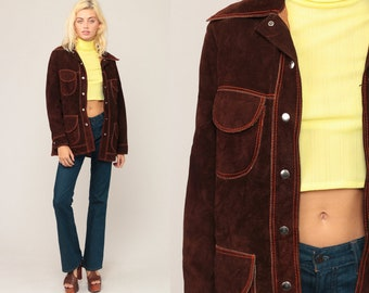 Brown Suede Jacket 70s Leather Jacket Bohemian Brown Coat Boho Hippie Jacket Collared 1970s Vintage Hipster Small