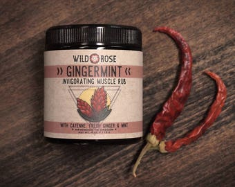 Muscle Rub Herbal GINGERMINT with Cayenne and Gingko 113g // 4oz Spa Gift