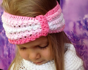 Baby Crochet Headband/ Baby Girl Crochet Headband/ Beautiful Baby Headband Pink/ Crochet Headband Baby/ Crochet baby Headband Batik